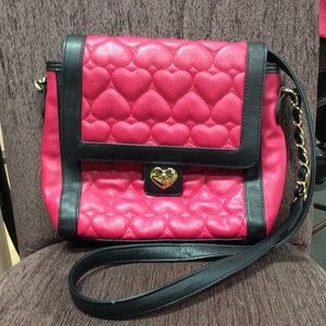 Betsey Johnson pink heart faux leather purse